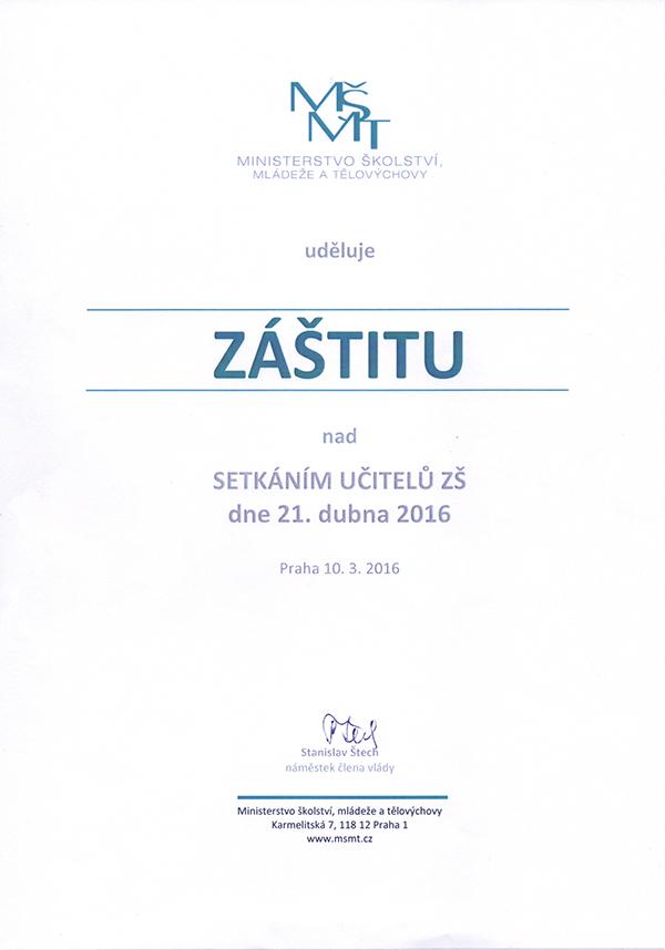 MŠMT Záštita - Setkání učitelů ZŠ